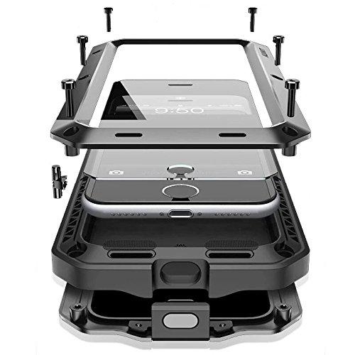 J-KONKY iPhone7Plus用 金属製ケース ガラスフィルム付き アウトドア・スポーツ用 メタルケース 指紋認証(Touch ID) 生活防水 耐衝撃 防塵 防震 アイフォン アルミ金属カバー ブラック