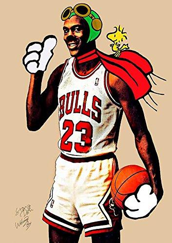 キャンバスポスター Flying Ace Michael Jordan バスケットボール Bulls ポップアート絵 Canvas #wb63 STAR DESIGN A3サイズ(297×420mm)