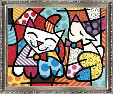 ポスター ロメロ ブリット Happy Cat and Snob Dog 額装品 ヴィドフレーム(シルバー)