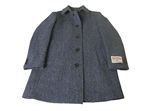 秋冬物 ハリスツイード ステンカラーコート ブルーヘリンボーン ネップ OXFORD CLASSIC 40085 3L