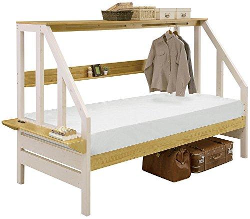 家具の赤や カンヌ Sベッド ホワイト/ライトブラウン