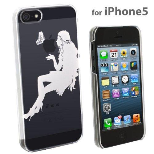 docomo au SoftBank iPhone5 iPhone5S 対応 Applus キャラクター ハード クリア ケース カバー ジャケット (ホワイト/キス)
