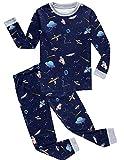 Babyfashion 綿100% 子供パジャマ ルームウェア キッズ  女の子 男の子 上下セット 宇宙船柄  長袖  寝巻き ボーイズ ガール 女児 男児 ベビー  2-9歳 (8歳, 濃紺2)