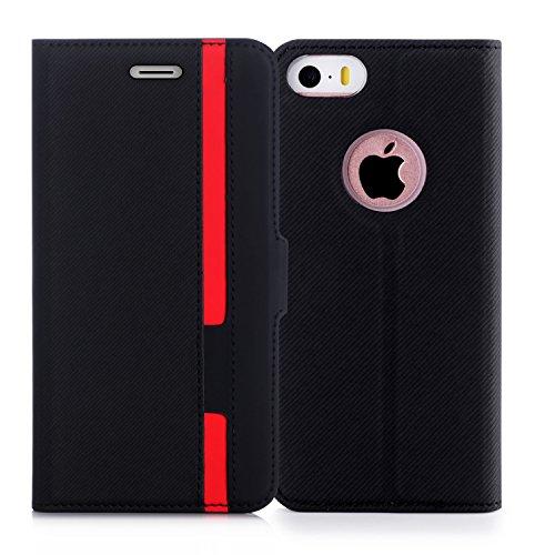 iPhone5S ケース iPhone5 ケース iPhone SE ケースFyy ハンドメイド 高級PUレザー ケース 手帳型 保護ケース カードポケット付き 横置きスタンド機能付き マグネット式 スマホケース スマートフォンケース iPhone SE/5S/5 対応