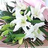 大輪系 白百合の花束 輪数15輪以上 エーデルワイス花工房 誕生日プレゼント 15 or more wheels of bouquet of white lily