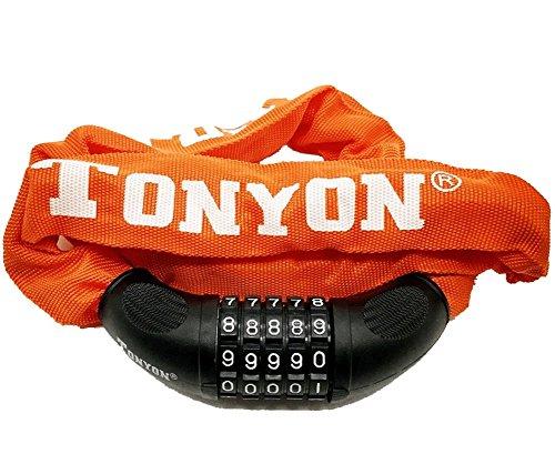 自転車ロック ダイヤル スチールロック チェーンロック[パスワード自由設定型] 防水 全長900mm断面径60mm 堅固盗難防止 (orange)