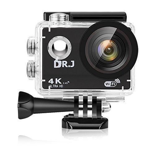 DR.J 4Kスポーツ カメラ 3年保証 二つ電池付き WiFi搭載 1600万画素 2インチ液晶画面 170度広角 40m防水 リモコン付き 豊富な付属品付き バイク/自転車/カート/車に取り付け可能 空撮やスポーツに最適
