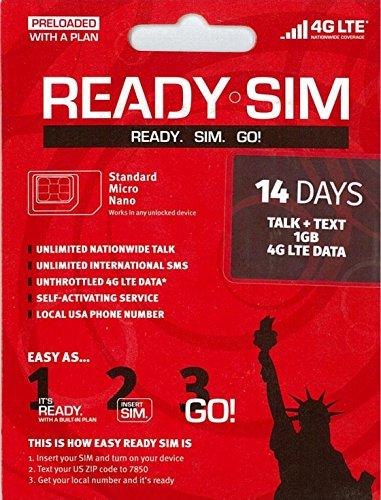 アメリカ プリペイド SIM Ready SIMカード Nanoサイズ!アクティベーションが簡単!アメリカ国内通話定額、データ通信定額! 通話とSMS、データ通信1GB 14日間