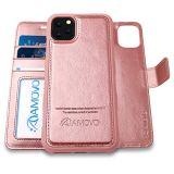 AMOVO iPhone 11 Pro ケース 手帳型 分離式 マグネット 取り外し自由 ワイヤレス充電に対応 カード収納 横開き スタンド機能 アイフォン 11 Pro 手帳カバー (iPhone 11 Pro 5.8インチ,ローズゴールド)