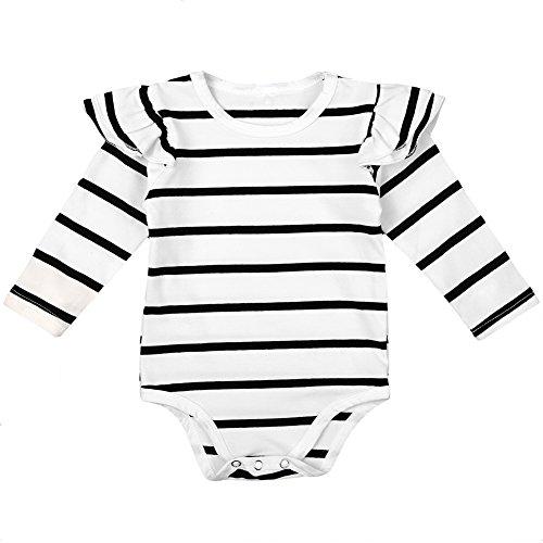 MIOIM ベビー ロンパース 長袖 新生児 赤ちゃん tシャツ ボーダー柄 連体服 キッズ カバーオール 男の子 女の子 足つき ボディスーツ 肌着 七三五 出産お祝い パジャマ 0-18ヶ月