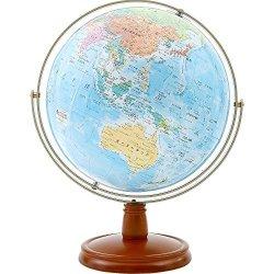 渡辺教具製作所 WE 卓上地球儀 ジェミニ(地政・行政) W-2608(木台) 球径26cm地球儀