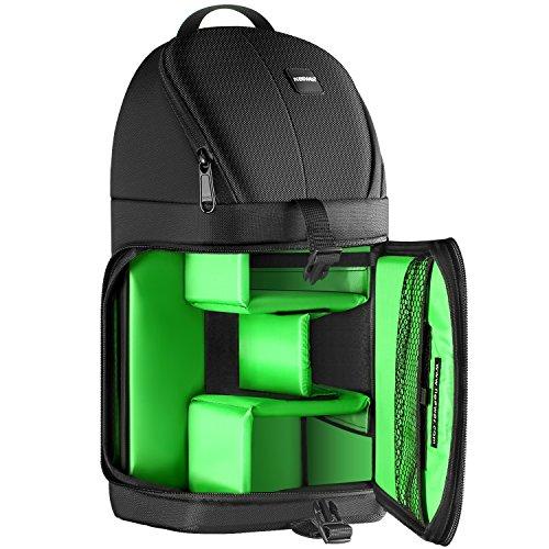 Neewer プロカメラバッグ リュック(緑色インテリア) 防水耐衝撃 防護機能 破れにくい デジタル一眼 仕切り入り Nikon Canonと他のDSLRカメラ レンズ 三脚 カメラアクセサリーに対応