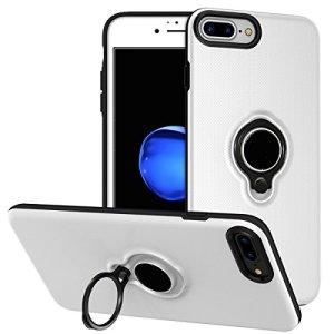 iPhone8ルヤス(Loacy)2500mAh バッテリー内蔵ケース ケース型バッテリー 充電用 バッテリーケース リングホルダーキックスタンド付き 大容量 軽量 内蔵磁性 100%バッテリー容量追加 iPhone6/6S/7/8 4.7インチ用(ホワイト)
