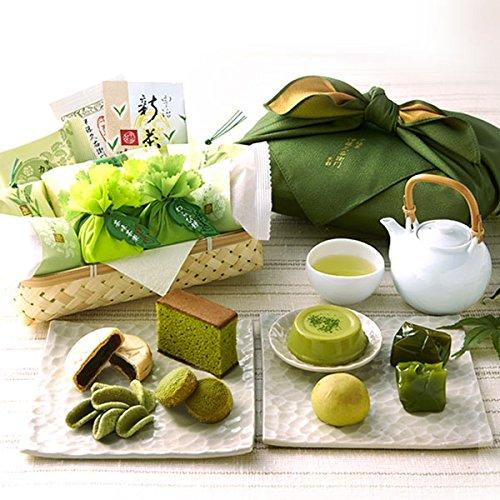 伊藤久右衛門 父の日 宇治抹茶スイーツ 新緑の包装セット 2018年 竹かご風呂敷包み