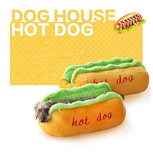 Higo ペット用品 ペットベッド クッション 小犬 猫用クッション ホットドッグ   秋冬用 ふわふわ  可愛い  面白い 中敷き付き (S)