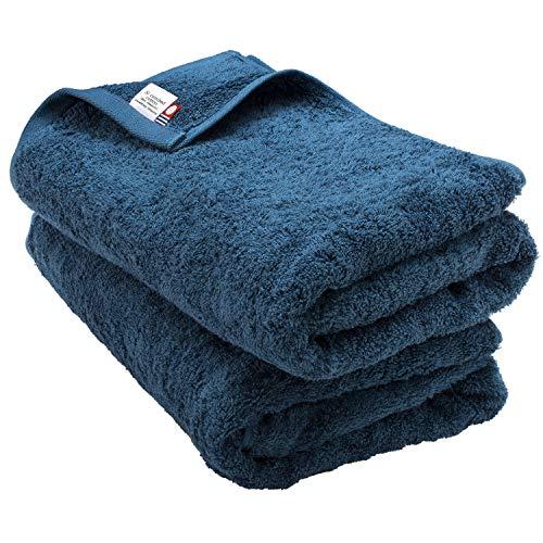 ブルーム 今治タオル 認定 レオン バスタオル 2枚セット ホテル仕様 サンホーキン綿 日本製 (シーブルー)