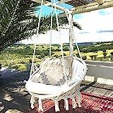 ハンモックチェア-KINDEN マクラメ編みハンギングチェア 吊り下げ式 大人&子供兼用 耐荷重120kg 屋外/室内用ロープハンモックチェア