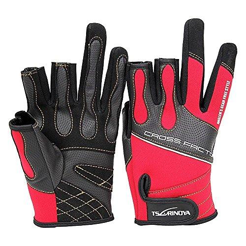Goture(ゴチュール) フィッシング グローブ 3本切 メンズ 釣り用手袋 ネオプレーン 3フィンガーレスグローブ 赤/黒 Lサイズ