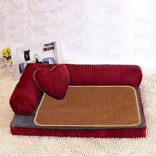 ペット ソファー モコモコ クッション スクエア 安眠 ベッド 犬 猫 寝台  四季通用 マット ぐっすり眠る 休憩所 洗える かわいい ござ 付き 寝床 レッド L