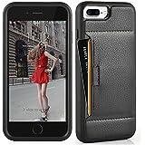 iPhone 7 Plus ケース レザーケース 耐衝撃 カード収納 落下防止 TPU × PC 2層構造 アイフォン 7 プラス 用 カバー iPhone 7 Plus ケース 5.5 インチブラック)