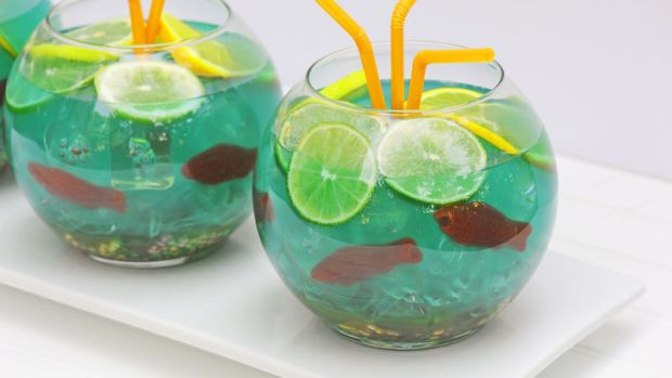 Disney Inspired Recipes with Finding Nemo Fishbowls Limes Lemons Oranges Straws