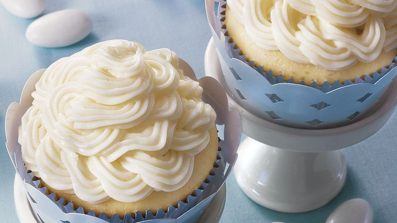 Double Almond Wedding Cupcakes Recipe   BettyCrocker com Double Almond Wedding Cupcakes