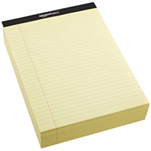 12 Pack of AmazonBasics Legal/Wide Ruled 8-1/2 by 11-3/4 Legal Pad - Canary (50 sheets per pad)