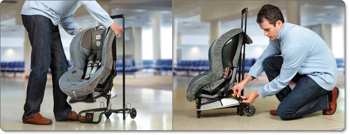 Travel cart attaches child's car seat with LATCH connectors for easy transport