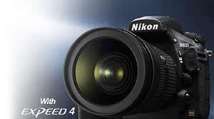 Product photo of the Nikon D810 D-SLR inset with EXPEED 4 logo