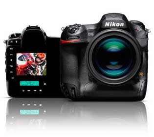 Nikon D5 DSLR front and rear with D5 photo of a motorcycle rider on the LCD