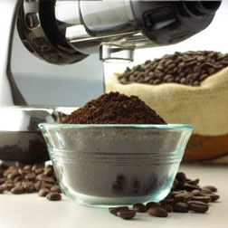 Use the grinder attachment to grind coffee beans and flour.