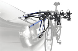 The Thule Passage 3-Bike Strap Rack mounted on a car rack