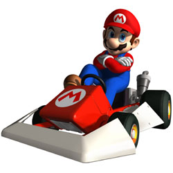 Mario looking tough in his kart in 'Mario Kart DS'