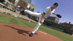Pitcher following through with his motion towards home plate in MLB 2K10