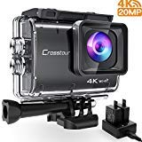 Crosstour Action Camera Ultra HD 4K 20MP WiFi Underwater Cam 40M EIS Anti-Shake Time-Lapse Recording Plus 2 Rechargeable 1350mAh Batteries USB Charger Accessories Sets, 9500