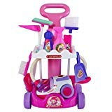 Stylishbuy Pretend Play Cleaning Set Large Cleaning Trolley Playset for Kids Toddler Pretend Toy Housekeeping Kit Mops Dustpan Broom Electric Vacuum Cleaner