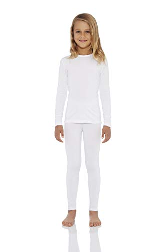Rocky Girl's Smooth Knit Thermal Underwear 2PC Set Long John Top and Bottom Pajamas (White,L)