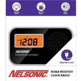 Nelsonic NOAA Weather LCD AM/FM Radio Alarm Clock, Black