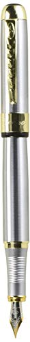 JinHao 250 Stainless Steel Gold Trim Fountain Pen - Medium