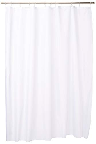 InterDesign Fabric Shower Curtain, Modern Mildew-Resistant Bath Liner for Master, Kid's, Guest Bathroom, Standard White