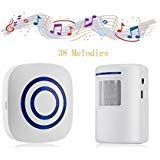 Door Chime,Wireless Business Door Motion Sensor Detector Smart Visitor doorbell Home Security Driveway Alarm with 1 Plug-in Receiver and 1 PIR Detector Weatherproof(White)