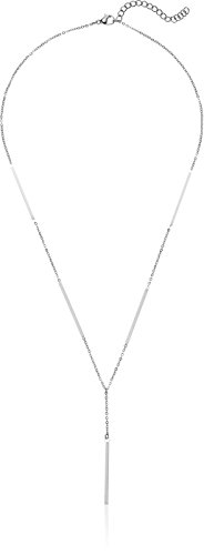 """bar drop """"y"""" necklace in gold plated stainless steel 18"""" chain secured by a lobster claw clasp, includes a 2"""" extension"""
