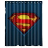 Custom Superman Logo Waterproof Polyester Fabric Bathroom Shower Curtain Standard Size 60(w)x72(h)