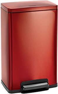 Tramontina Stainless Steel Rectangular Step Can Freshener System, Trash Can (Cranberry Red, 13-Gallon)