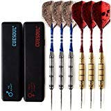 CUESOUL 6 Pcs 22g Steel Tip Darts + 24g Steel Tip Darts + Dart Case