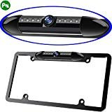 Night Vision License Plate Frame Car Rearview Camera 8 Infrared LEDs Wide Viewing Angle Waterproof Sturdy Sleek Backup Camera High Sensitive Vehicle Universal Reversing Assist Security (Black)
