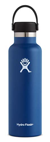 Hydro Flask 21 oz Water Bottle | Stainless Steel & Vacuum Insulated | Standard Mouth with Leak Proof Flex Cap | Cobalt