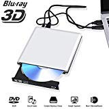 External Blu Ray DVD Drive 3D 4K, Bluray USB 3.0 Player CD RW Row Burner Portable Compatible for iMac Laptop PC MacBook OS Windows 7 8 10 (Silver-Grey)