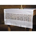 Christian Brands Latin Cross and IHS Lace Altar Runner
