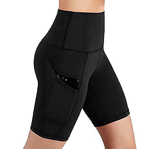 Women Yoga Shorts,High Waist Workout Running Yoga Shorts Tummy Control Side Pockets Leggings Biker Shorts Yamally Black